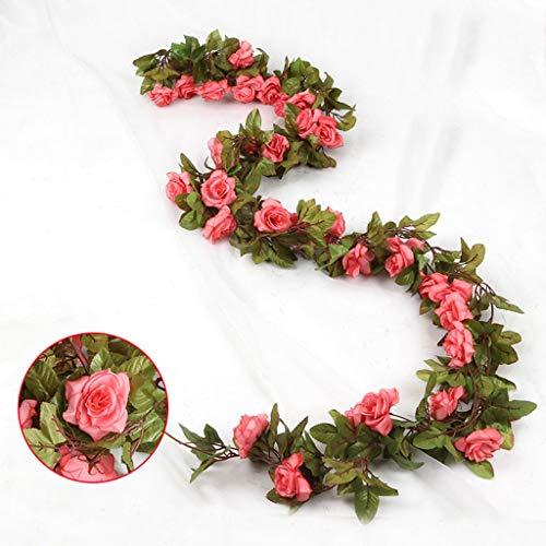 17 Kunstmatige Rose Vines, Wijnstok Plant Nep Bloemenbladeren Decoratie Vakantie Tuinmuur