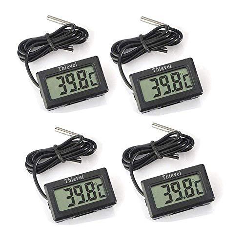 Thlevel Mini Termómetro Digital LCD con Sonda Externa Impermeable para Refrigerador, Congelador, Acuario (4× Negro)