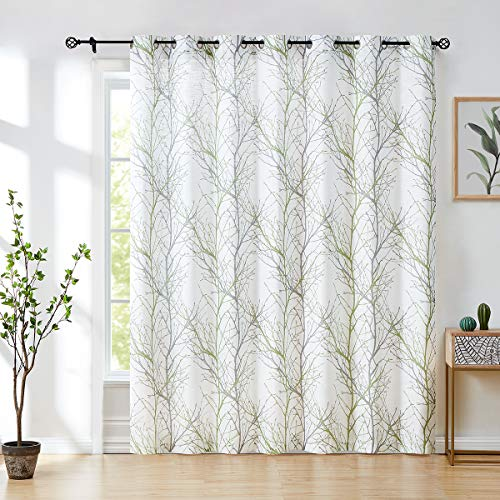 FMFUNCTEX Extra-Wide Patio Door Curtain 100 inches Width by 96inch Length Tree Print Not See Through Linen Textured Semi Sheer Curtain Green-Gray Branch Sliding Door Panel 1 pc 8ft