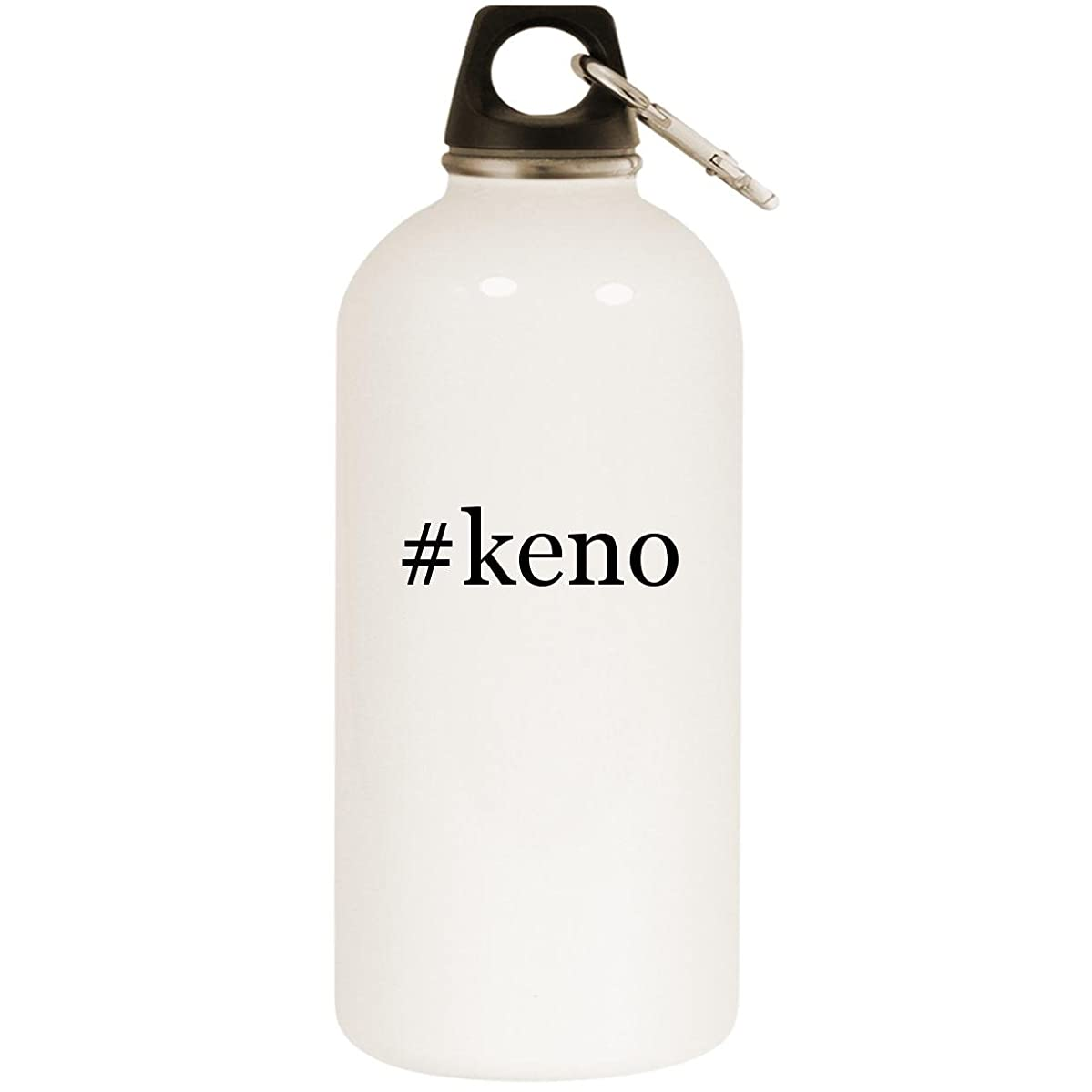 Molandra Products #Keno - White Hashtag 20oz Stainless Steel Water Bottle with Carabiner