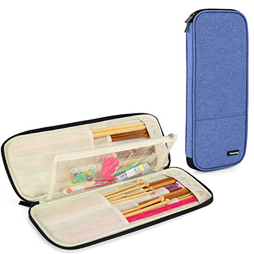 Teamoy Knitting Needles Case (Up to 14''), Travel Organizer Storage Bag for Knitting Needles, Tunisian Crochet Hooks and Accessories, Blue