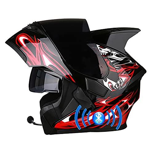 Letetexi Casco de Moto Bluetooth Integrado Flip Up Casco Moto Integral Casco Modular con Doble Visera Casco de Motocicleta Casco Scooter Certificación ECE para Hombre Mujer 57~66cm