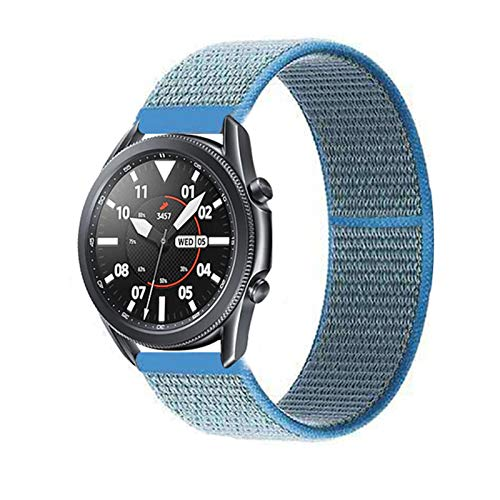 YGGFA 20 22mm Watch Band for Gear S3 Frontier Strap Galaxy Watch 3 45mm 41mm 46 Active 2 44mm 40mm Nylon para Huawei Watch GT2E / 2 Strap 42 (Band Color : Tahoe Blue 14, Band Width : 20mm)