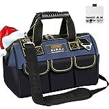 AIRAJ 36 * 21 * 26CM Werkzeugtasche mit 14 Innen- und Außentaschen,Hochleistungs-Transporttasche aus 600D Polyester,verstellbarem Schultergurt,Wasserdichte Werkzeugtasche mit weitem Weithals
