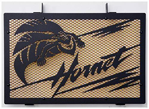 Kühlerverkleidung/Kühlerabdeckung Mattes schwarz für Honda CB 600 F Hornet 2007>2014 Design « Frelon » + vergoldetes Schutzgitter