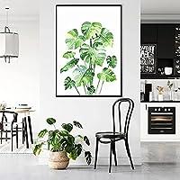 水彩植物の葉キャンバス絵画緑のバナナの葉の壁アートポスターとプリント北欧のミニマリストの部屋の家の装飾60x80cmフレームレス