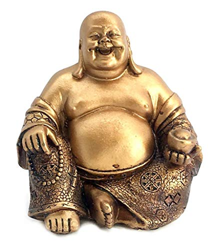 Bellaa 21770 A Golden Happy Buddha(Laughing Buddha) Feng Shui for Money and Wealths 6' Inches Copper