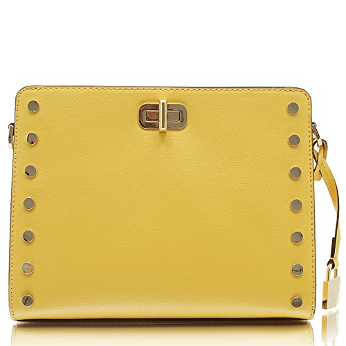 Vibrant leather with polished golden tone hardware and stud detailing Custom logo print fabric lined interior with center zippered pocket and open compartment on either side Inner zippered and open slip pockets with open slip pocket with turn-lock cl...