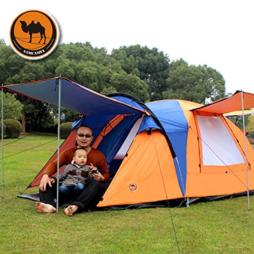 ZHJLOP tent Ultralarge 330 * 330 * 185CM 5-8 Person Use Camping Tent Tenda Barraca Beach Tent Tente De Camping Party Tent