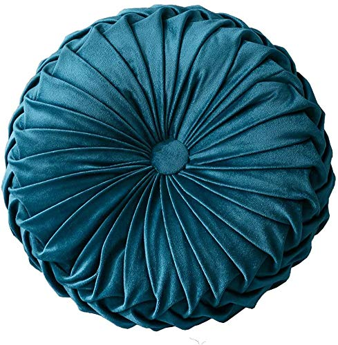 DSZZ Health 2Pcs Round Cushions Pillows Solid Color Velvet Pumpkin Throw Pillow Chair Sofa Bed Floor Cushion for Home Bedroom Party Office Coffee Shop,A