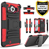 Lumia 950 Case, Combo Rugged Shell Cover Holster with Built-in Kickstand and Holster Locking Belt Clip + Circle(TM) Stylus Touch Screen Pen And Screen Protector - Red