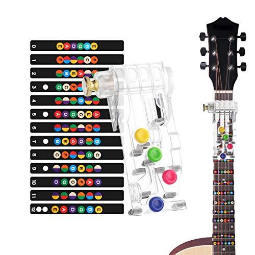 HONGECB Gitarren Übungshilfe, Praktisches EIN-Tasten-Gitarren-Lernsystem, Schmerzsichere Akkord-Übungswerkzeug, Akustik- Und E-Gitarren mit 6 Bünden, Geschenk Griffbrett Noten Für Trainer-Anfänger