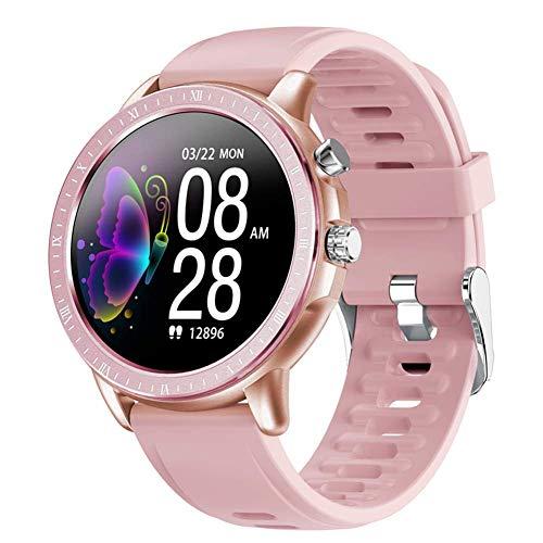 Gymqian Smartwatch Inteligente Reloj S02, 1,3 Pulgadas de Pantalla Completa Redonda Ip67 a Prueba de Agua con Control de Las Pulsaciones Rastreador de Ejercicios Reloj Deportivo, Ho