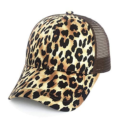 Kokkn Ponytail Baseball Cap Hat Ponycaps Messy Ponytail Adjustable Outdoor Mesh Cap Trucker Dad Hat for Women Men (Leopard)