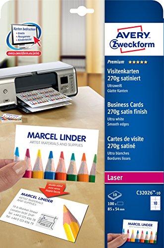 AVERY Zweckform C32026-10 Premium Visitenkarten, blanko (100 Stück, 270g, 85x54 mm, beidseitig bedruckbar, satiniert ultraweiß, absolut glatte Kanten, 10 Blatt) zum Selbstbedrucken auf Laser-Druckern