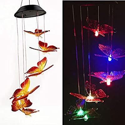 LINGBUSINESS Butterfly Solar Wind Chimes Outdoor Color Changing Waterproof LED Mobile Light Spiral Spinner Home Garden Patio Yard Decor Garden Festival Decorative Indoor Outdoor, Butterfly