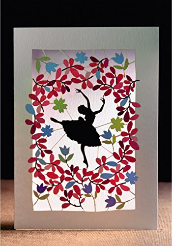 FOREVER Tänzerin Laser Cut Karte 3D Grußkarte Ballerina Tanzschule Konzert Ausgehen Gutschein 16x11cm