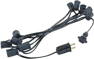 "Novelty Lights 10 Foot C9 Outdoor String Light Christmas Stringer - Patio String Lights - Intermediate Base (C9/E17) - 12"" Spacing - Black Wire"