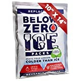 Below Zero Colder Than Ice Freeze Packs 4 Count - 10x14in Absorbent Polymer Ice Pack for Lunch Box, Coolers, Fits Large and Small Insulated Coolers - No Ice Needed - Lasts Upto 48 Hrs