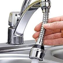 Lukzer 1 PC Stainless Steel Turbo Flex 360 Degree Rotatory Flexible Sink Water Saving Faucet Nozzle Sprayer (Standard Size/Silver)