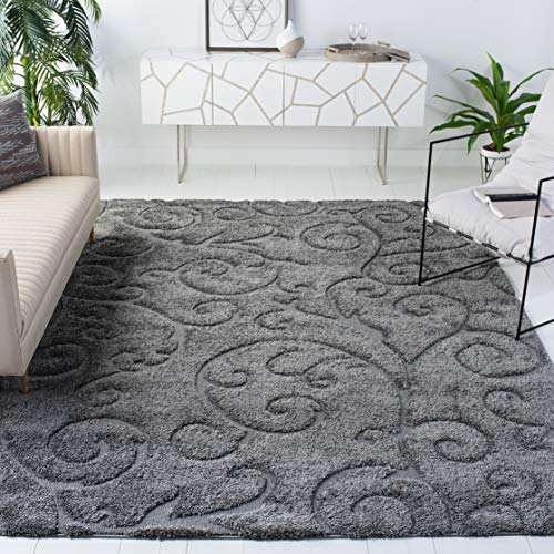 Safavieh Florida Shag Collection SG455-8013 Scrolling Vine Graceful Swirl Textured 1.18-inch Thick Area Rug, 4' x 6', Grey