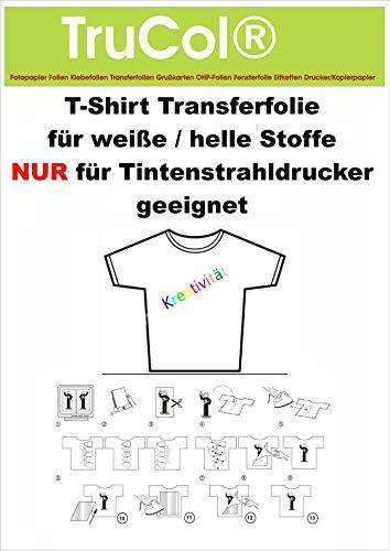 10 Blatt DIN A4 T-Shirt Transferfolien NUR für Tintenstrahldrucker ( Inkjet ). Eine spezielles Transferpapier zum Bedrucken von weissen und hellen T-Shirts, Basecaps,Sweat-Shirts, Baumwoll-Taschen,Bettwäsche,Fahnen,......