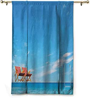 SONGDAYONE Decorative Roman Curtain House Decor Collection Swimming Pool with Beach Chairs Armchair Sunlight Outdoors Waterscape Sunbath Image,W36 x L64 Blue Red
