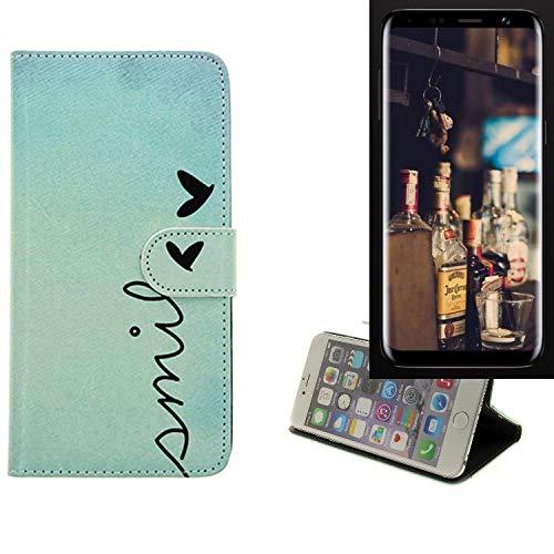 K-S-Trade® Schutzhülle Für Bluboo S8 Hülle Wallet Case Flip Cover Tasche Bookstyle Etui Handyhülle ''Smile'' Türkis Standfunktion Kameraschutz (1Stk)