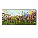 KMAOMAOYHYH Hand Painted Oil Painting On Canvas,Multicolored Flowers Landscape Pattern Design Poster Pictures Modern Wall Art Minimalist for Home Corridor Living Room Bedroom Decor 36X72Inch No Frame
