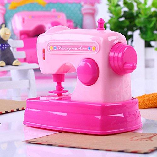 Maserfaliw Mini Sewing Machine Toy, Children's Kids Toy Simulation Mini Sewing Machine Fun Little Toys Desk Decor - Pink, Birthday Gifts, Home, Travel.