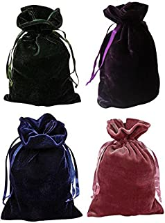 Paper Mart Tarot Bags Luxurious Velvet Bundle of 4: Hunter Green Navy Blue Rose and Purple 6