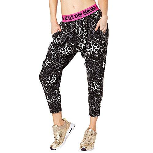 Zumba Capri Pantalon Harem de Entrenamiento Fitness Mallas de Deporte de Mujer, Back to Black 3, XXL