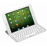[Present-web] 保護ケースにもなる! iPad Mini アルミ製 ワイヤレスキーボード 【超薄アルミ材質+スクリーム保護+電池内蔵 スタンド機能付き】(ホワイト)