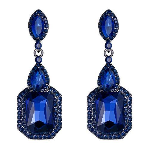 BriLove Wedding Bridal Clip On Earrings for Women Crystal Emerald Cut Infinity Figure 8 Chandelier Dangle Earrings Navy Blue Sapphire Color Black-Silver-Tone