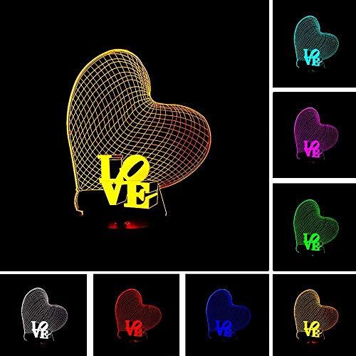 DMYDMY Amour 3D En Trois Dimensions Lanterne Magique Led Nuit Lumière 7 Changement De Couleur Tactile Usb Maison Économie D'Énergie Décoration Noël Cadeau D'Anniversaire Jouet