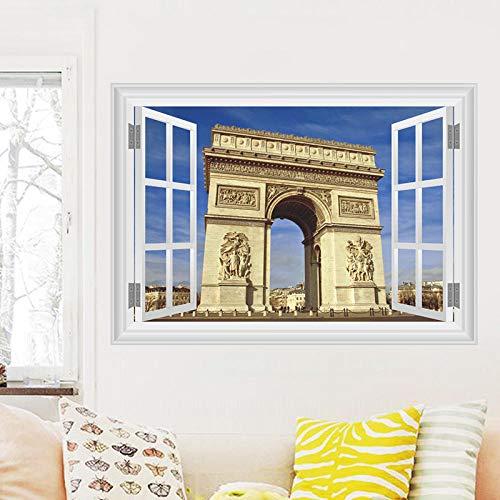 Moderno Arco de Triunfo de Francia Pegatinas de Pared Decoraciones para el hogar Sala de estar 3D Ventana Paisajes Tatuajes de pared de PVC Arte Mural Posters