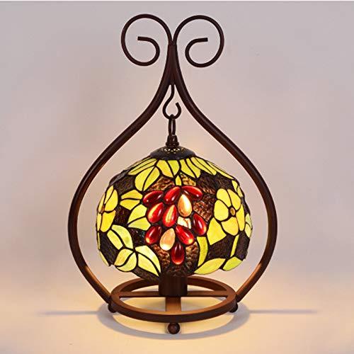 QJUZO Lámpara De Mesa Vintage Tiffany, 12 Pulgadas Vitrales Utensilios De Noche Tiffany Mesita De Noche E27 Lámparas De Escritorio Para La Sala De Estar Retro Art Deco Luz De Diseño