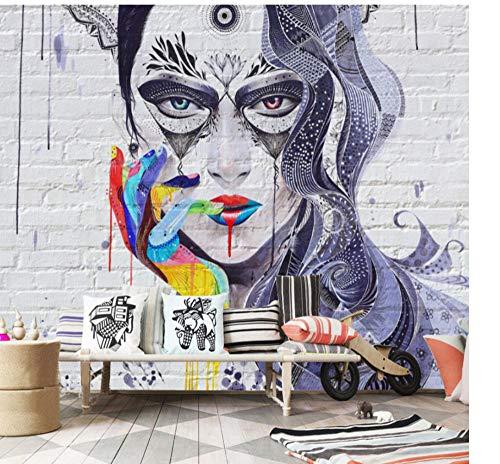 Guokaixyz fotobehang graffiti beauty brick wall wallpape 3D-muurschildering woonkamer slaapkamer kunst muurschildering behang decor vlies 260x180cm