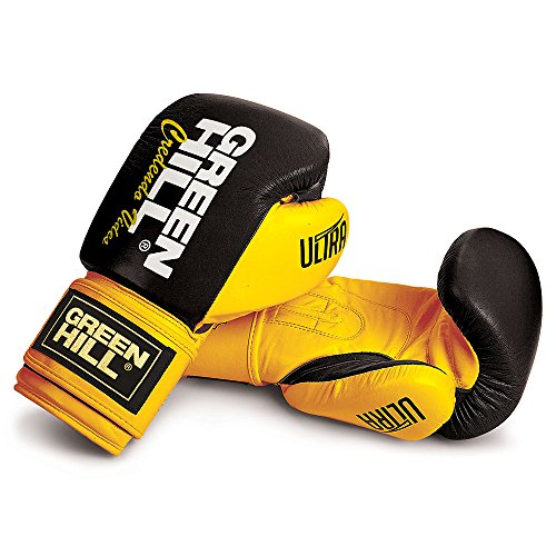 GREEN HILL Ultra, Guantoni da Boxe Unisex – Adulto, Nero/Giallo, 10 oz