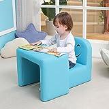 Emall Life Set tavolo e sedia multifunzionale per bambini, diventa una poltrona per bambini con divertente sorriso per maschietti e femminucce(blu)