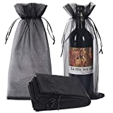 30pcs Black Organza Wine Bags, Sheer Mesh Bottle Gift Pouches Wine Covers Dresses with Drawstring for Halloween