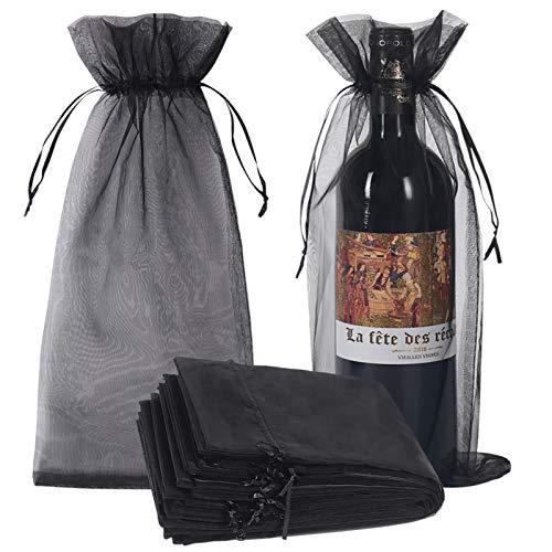 Organza-Weinbeutel, transparent, Netzstoff, für Flaschen, Geschenkbeutel, Weinabdeckung, Kleider mit Kordelzug, für Halloween, 30 Stück