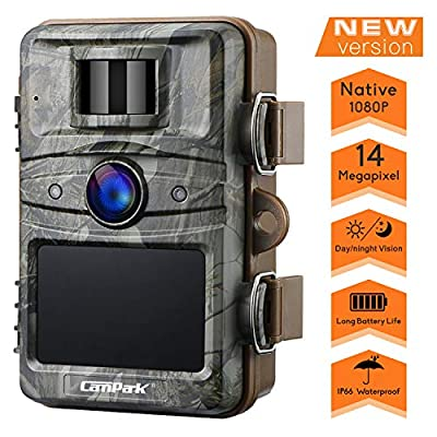 """Campark T70 Trail Game Camera No Glow Night Vision 14MP 1080P Outdoor Hunting Cam Security Motion Activated Camera with 2.4"""" LCD and IP66 Waterproof Battery Powered"""