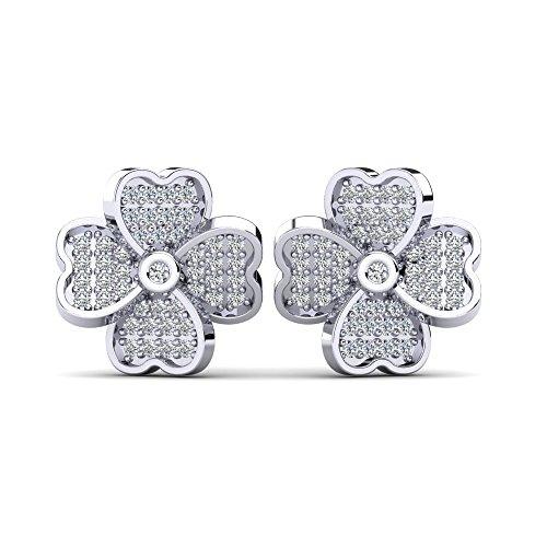 Kleeblatt-Ohrstecker Trefle Silber 925 mit Swarovski Kristallen - Silber Ohrringe für Damen in Kleeblatt-Form - Silber Ohrstecker Damen - Valentinstagsgeschenk + Luxusetui