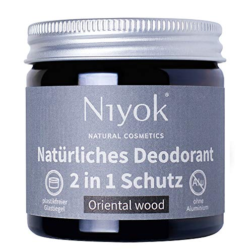 Niyok® 2 in 1 Deo ohne Aluminium Antitranspirant Deocreme Deodorant Creme | Damen | Herren gegen starkes Schwitzen aluminiumfrei - Oriental wood – 40ml