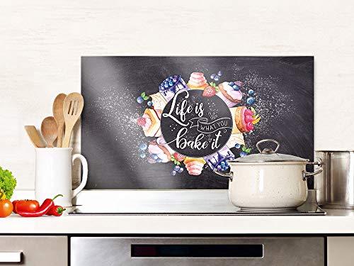 GRAZDesign Spritzschutz Küche Glas Spruch Life is, dunkelgrau, Küchenrückwand Herd, Glasplatte / 80x40cm