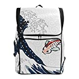 Chic Houses Mochila Estilo japonés para Hombres y Mujeres Estudiantes Wave Fish Blue Ocean Pattern Series Casual School Bag Bookbag Ukiyo-E Multiusos Business Daypacks Laptop 2030531
