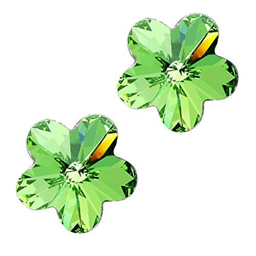 GWG Jewellery Pendientes Mujer Regalo Pendientes de Botón, Chapados en Plata de Ley Flor de 5 Hojas en Cristales de Color Esmeralda Verde para Mujeres