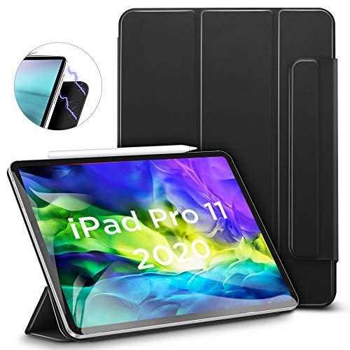 ESR iPad Pro 11 ケース 2020 磁気吸着 [Apple Pencilのペアリング & 充電に対応] オートスリープ/ウェイク スリム 軽量 シルク手触り 高級感 三つ折りスタンド リバウンドマグネティックスマートケース(ブラック)