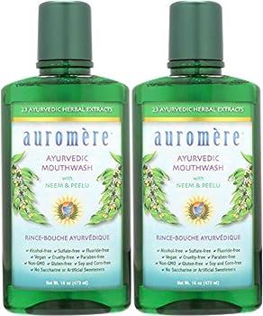 Auromere Ayurvedic Mouthwash - Vegan Fluoride Free Alcohol Free Natural Non GMO  16 fl oz  2 Pack